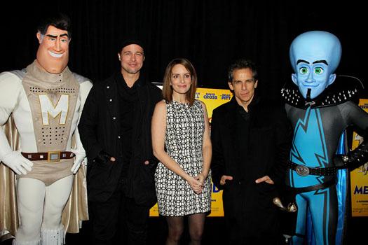 Metro Man, Brad Pitt, Tina Fey, Ben Stiller and Megamind