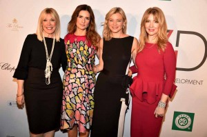 (L-R) President of the Environmental Media Association Debbie Levin, Livia Firth, Amy Smart and Evie Evangelou