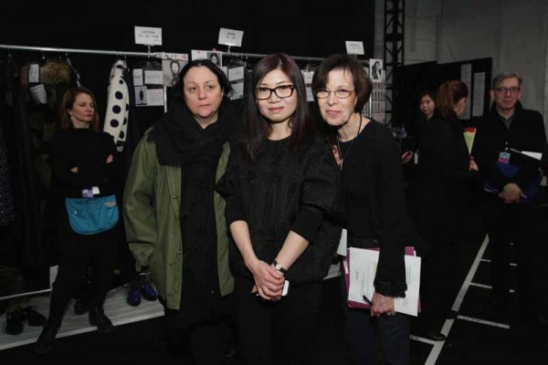 Kelly Cutrone with designer Taoray Wang backstage