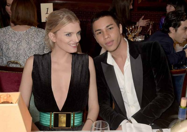 LONDON, ENGLAND - MARCH 16:  Lily Donaldson and Olivier Rousteing attend the dinner, hosted by Olivier Rousteing, to mark the opening of Balmain's first London store, at Ann abel's on March 16, 2015 in London, England.  (Photo by David M. Benett/Getty Images for Balmain) *** Local Caption *** Lily Donaldson; Olivier Rousteing