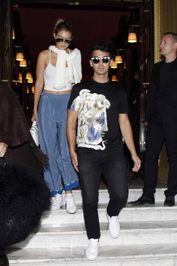 Joe Jonas and Gigi Hadid out for lunch at Cafe Flore in Paris