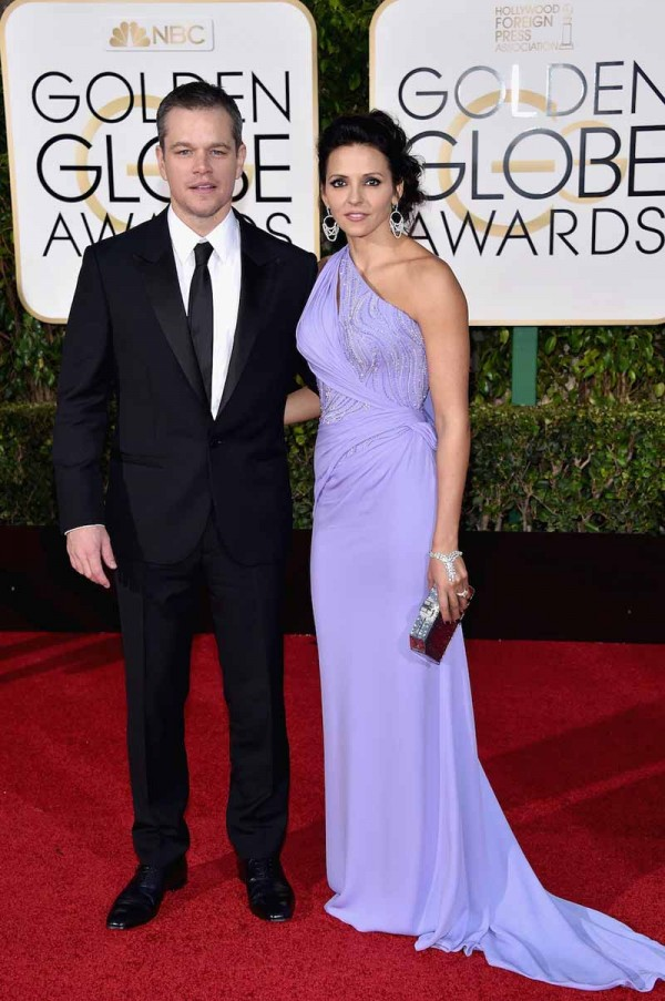 BEVERLY HILLS, CA - JANUARY 10: Actor Matt Damon and Luciana Damon attend the 73rd Annual Golden Globe Awards held at the Beverly Hilton Hotel on January 10, 2016 in Beverly Hills, California. (Photo by John Shearer/Getty Images)